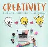 Kreativitet skapar begrepp för diagram för belysningkula royaltyfria bilder