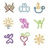 Kreativitet ställer ut av uppsättning för folksinnesrörelse- och innovationsymbol Arkivbild