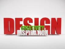 kreativitetdesigninspiration framför ord Royaltyfri Bild