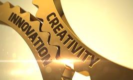 Kreativitetinnovationbegrepp Guld- metalliska kuggekugghjul 3d royaltyfria foton
