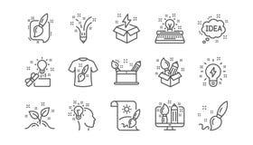 Kreativitetlinje symboler Idérik formgivare, idé och inspiration Linjär symbolsuppsättning vektor stock illustrationer