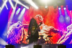 Kreator выполняет в реальном маштабе времени на фестивале выходных атласа в Киеве, Украине Стоковые Фото