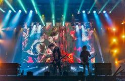 Kreator выполняет в реальном маштабе времени на фестивале выходных атласа в Киеве, Украине Стоковые Изображения