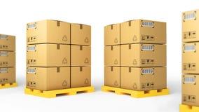 Kreatywnie ładunku, dostawy i transportu logistyk składowego magazynu przemysłu biznesowy pojęcie: grupa brogujący panwiowy samoc Zdjęcie Stock