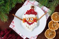 Kreatywnie śmieszny jedzenie dla dzieciaków: rozochocony Święty Mikołaj blin Zdjęcie Stock