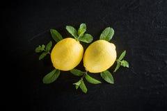 Kreatywnie świezi dojrzali mennica liście na zmroku i cytryny drylują backgr Obrazy Stock