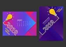 Kreatywnie żarówka pomysły 2019 nowy rok projekta szablon dla broszurki royalty ilustracja