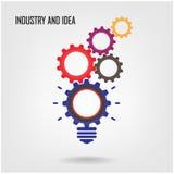 Kreatywnie żarówka znak, przemysłowy symbol Fotografia Stock