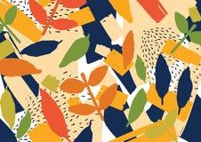 Kreatywnie abstrakcjonistyczny tło z rozrzuconymi stylizowanymi liśćmi Nowożytny jaskrawy barwiony horyzontalny tło z naturalnym ilustracji