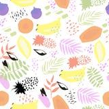 Kreatywnie abstrakcjonistyczny wektorowy bezszwowy tło z liśćmi i owoc Fotografia Royalty Free