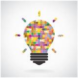 Kreatywnie łamigłówki żarówki pomysłu pojęcia tło, edukacja przeciw Obrazy Stock