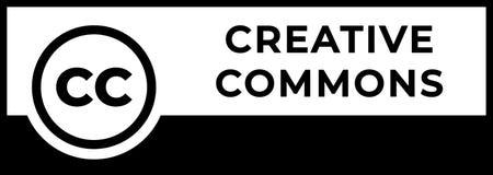 Kreatywnie błoń dóbr zarządzania znak z kółkową CC ikoną royalty ilustracja