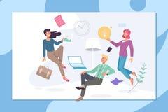 Kreatywnie biuro coworking centrum pojęcie Ludzie odpoczywa i komunikuje w coworking centrum Płaski wektor ilustracja wektor
