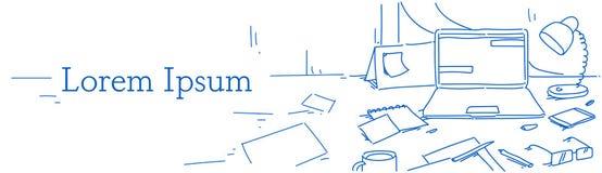 Kreatywnie biuro domu miejsca pracy laptopu smartphone kalendarza szkieł papieru prześcieradła lampowej notatki biurka stacjonarn ilustracja wektor