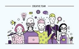 Kreatywnie biznes drużyny pojęcie Sztandar z praca zespołowa rozkazem Młodzi projektanci, dziewczyny i faceta cv, Lineart mieszka ilustracji