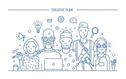 Kreatywnie biznes drużyny pojęcie Sztandar z praca zespołowa rozkazem Młodzi projektanci, dziewczyny i faceta cv, Lineart mieszka ilustracja wektor