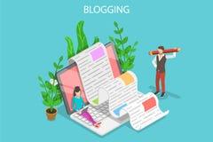 Kreatywnie blogging isometric płaska wektorowa konceptualna ilustracja Royalty Ilustracja