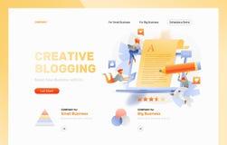 Kreatywnie Blogging strona internetowa chodnikowiec ilustracji