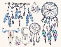 Kreatywnie boho styl obramia Mady piórek etniczne strzała i Kwiecistą elementu wektoru ilustrację ilustracji