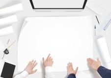 Kreatywnie budowniczego biurko z budynku projekta pustego papieru whatman mockup Obraz Royalty Free