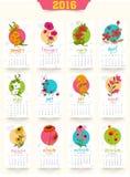 Kreatywnie Coroczny 2016 kalendarz dla nowego roku świętowania Obrazy Stock