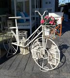 Kreatywnie dekoracja dla sklep z kawą, hotele, restauracja biały bicykl kwitnie Obraz Stock
