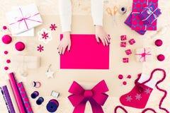 Kreatywnie diy sezonowa kartka bożonarodzeniowa Fotografia Royalty Free