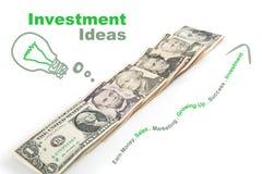 Kreatywnie dolary z narastającym wykresem Obrazy Royalty Free