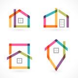 Kreatywnie domowe abstrakcjonistyczne nieruchomości ikony ustawiać Obraz Royalty Free