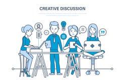 Kreatywnie dyskusja Biznes drużyna, praca zespołowa współpraca, komunikacja, wekslowa ważna informacja ilustracji