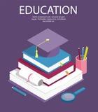 Kreatywnie edukacja sukces, edukacja poziom i personel isometric, ilustracji