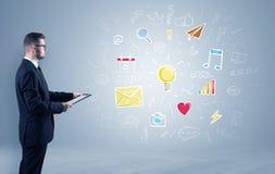 Kreatywnie główkowania pojęcie, symbole i kierownik, zdjęcie stock