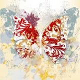 Kreatywnie grunge tło z motylem robić od zawijasów i i Zdjęcie Royalty Free