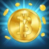 Kreatywnie ilustracja 3d bitcoin złota moneta na tle Sztuka projekta cyfrowa waluta, cryptocurrency zapas Fotografia Royalty Free