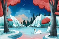 Kreatywnie ilustracja i Nowatorska sztuka: Łabędzi jezioro ilustracja wektor