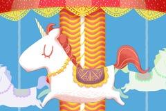 Kreatywnie ilustracja i Nowatorska sztuka: Jednorożec Wesoło Iść Round Drewniani konie ilustracja wektor