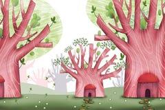 Kreatywnie ilustracja i Nowatorska sztuka: Lasowi mieszkanów tereny