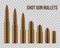 Kreatywnie ilustracja realistyczni strzału pistoletu pociski, dziury na przejrzystym tle Sztuka projekta różny wystrzał ilustracja wektor