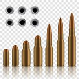 Kreatywnie ilustracja realistyczni strzału pistoletu pociski, dziury odizolowywać na przejrzystym tle Sztuka projekta różny wystr royalty ilustracja