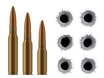 Kreatywnie ilustracja realistyczni strzału pistoletu pociski, dziury odizolowywać na przejrzystym tle Sztuka projekta różny wystr ilustracji