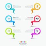 Kreatywnie infographic projekta szablon - 6 stubarwnych wytłoczonych elementów ilustracja wektor