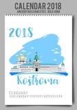 Kreatywnie kalendarz 2018 z - mieszkanie barwił ilustrację, szablon Fotografia Stock