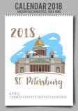 Kreatywnie kalendarz 2018 z - mieszkanie barwił ilustrację, szablon Zdjęcia Stock