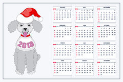 Kreatywnie kalendarz z patroszonym zabawkarskim psem dla ściennego roku 2018 Zdjęcie Royalty Free