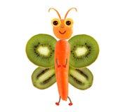Kreatywnie karmowy pojęcie Śmieszny mały motyl robić owoc i Fotografia Royalty Free