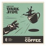 Kreatywnie kawy rocznika powiązany plakat Przychodzący ciemna strona również zwrócić corel ilustracji wektora ilustracji