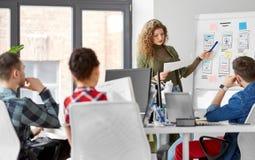 Kreatywnie kobieta pokazuje interfejs użytkownika przy biurem zdjęcie stock