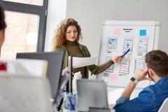 Kreatywnie kobieta pokazuje interfejs użytkownika przy biurem fotografia stock