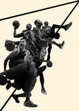 Kreatywnie kolaż gracze koszykówcy w akcji zdjęcia stock
