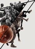 Kreatywnie kolaż gracze koszykówcy w akcji zdjęcie stock